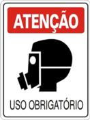 Placa Em Ps Sinal/adv - Atenção Uso Obrigatório De Máscara 20x30cm 12239 S-201