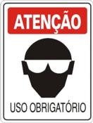Placa Em Ps Sinal/adv - Atenção Uso Obrigatório De Óculos 20x30cm 12240 S-202