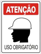 Placa Em Ps Sinal/adv - Atenção Uso Obrigatório De Capacete 20x30cm 12242 S-205