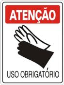 Placa Em Ps Sinal/adv - Atenção Uso Obrigatório De Luvas 20x30cm 12243 S-206