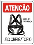 Placa Em Ps Sinal/adv - Atenção Uso Obrigatório Do Cinto De Segurança 20x30cm 12244 S-207