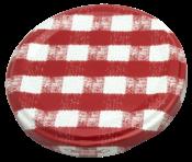 Tampa Vidro Compota Simples Xadrez Vermelha 10716 Br-1