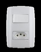 Interruptor 1t.s 10a+tomada 10a Slim 250v 9616 80200
