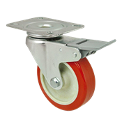 Rodízio Giratório Com Trava Diâmetro 75mm 95 Kg Roda Cor Laranja 13669 15292