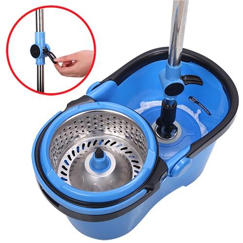 Esfregão Mop Rotativo Azul C/ Centrifuga Inox Cabo Metal C/ 2 Refis 11319 XH-005