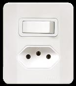 Interruptor  Paralelo + Tomada 2p+t 20a 250v C/placa Caixa Simples Branca 13937 64517