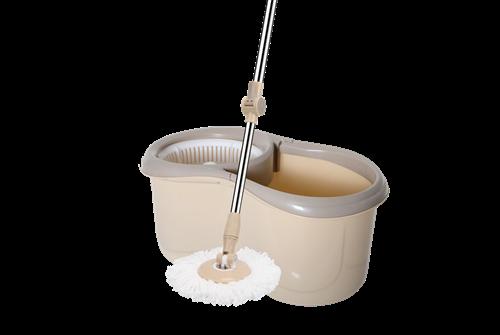 Esfregão Mop Rotativo Bege C/ Centrifuga Plástica Cabo Metal C/ 1 Refil 14118 XH-036