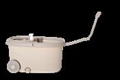 Esfregão Mop Rotativo Profissional Bege C/ Rodinha C/ Centrifuga Inox Cabo Metal C/ 2 Refil 14119 XH-042