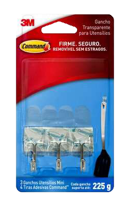 Gancho Com Adesivo Plástico Command Tranp. 3 Peças Mini 0,225g 14610 HB004270532